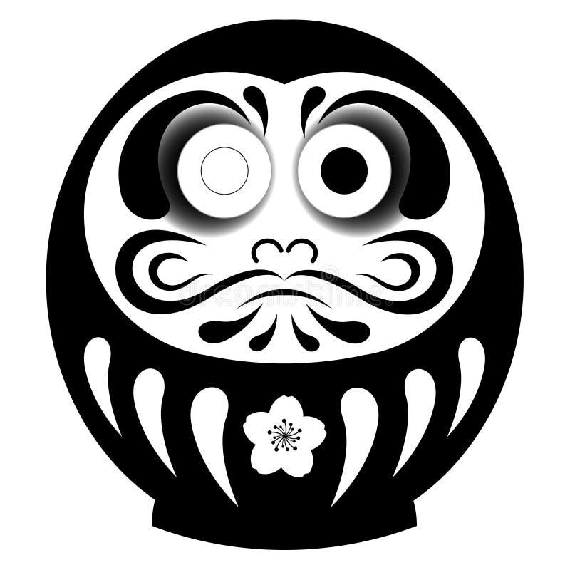 Schwarze Daruma-Puppe mit linkem Auge stock abbildung