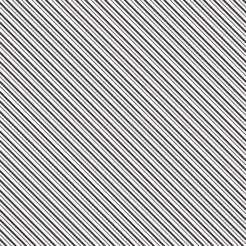 Schwarze diagonale Linien Gestreifte Tapete symmetrische lineare Verzierung mit dick und Zinkenlinie Streift Motiv stock abbildung