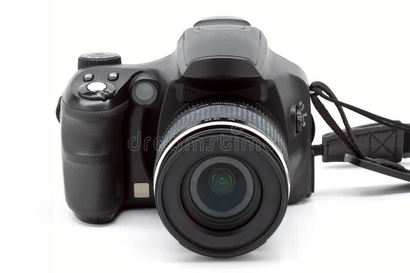 Schwarze Digitalkamera auf weißer Lokalisierung lizenzfreie stockfotografie