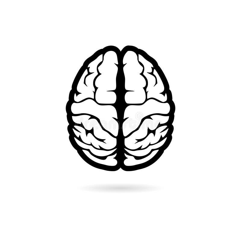 Schwarze einfache Illustration des menschlichen Gehirns, Aufkleber des menschlichen Gehirns, Ikone, Logo lizenzfreie abbildung