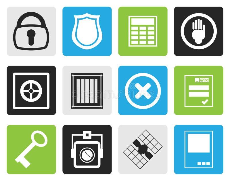 Schwarze einfache Sicherheits- und Geschäftsikonen stock abbildung