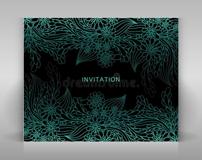 Schwarze Einladung mit blauer Blumendekoration lizenzfreie abbildung