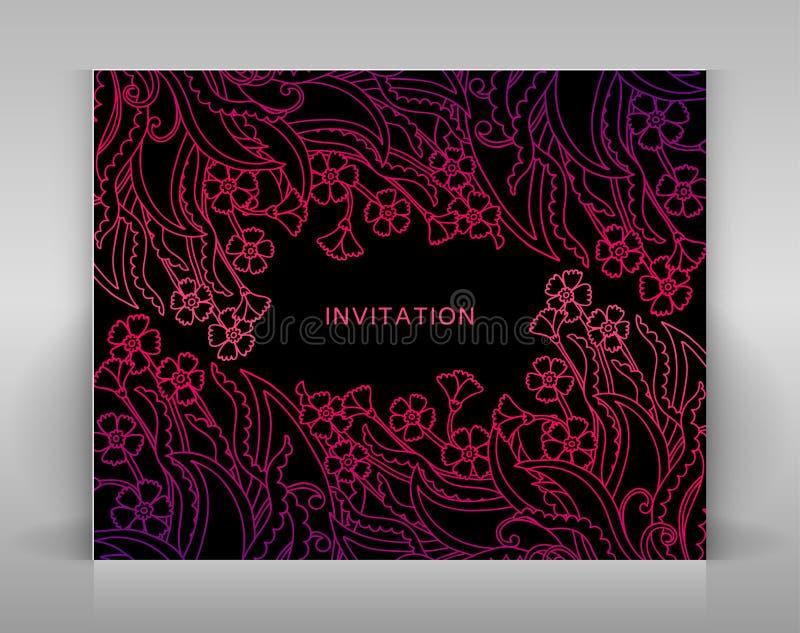 Schwarze Einladung mit Blumendekoration stock abbildung