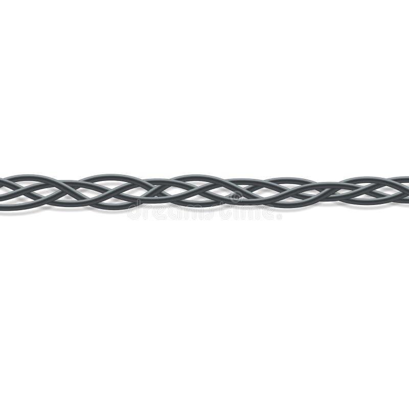 Schwarze elektrische Leitungen verflochten in einen Zopf - Vektorillustration lizenzfreie abbildung
