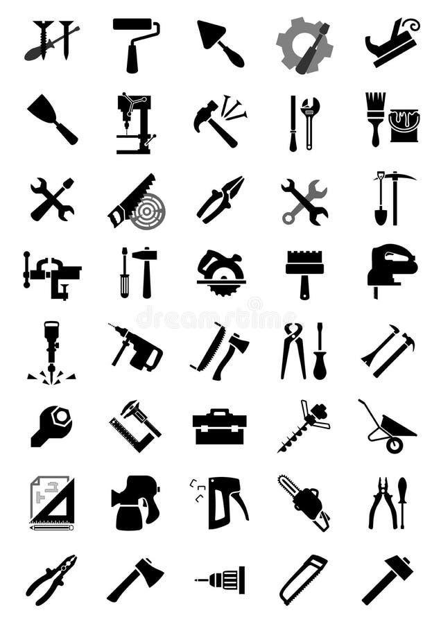 Schwarze elektrische und manuelle Werkzeugikonen vektor abbildung