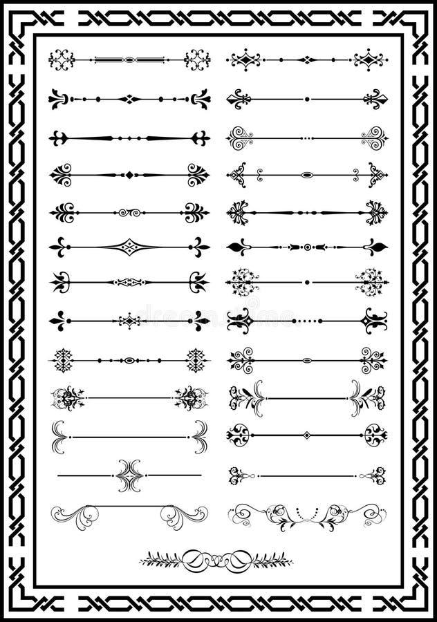 Schwarze Farbe der netten gesetzten Seitendekorations-Elemente stock abbildung