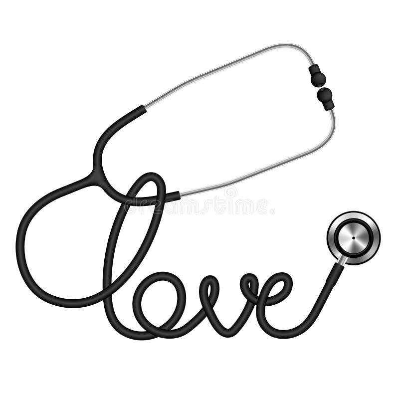 Schwarze Farbe des Stethoskops und Liebestext gemacht vom Kabel lokalisiert vektor abbildung