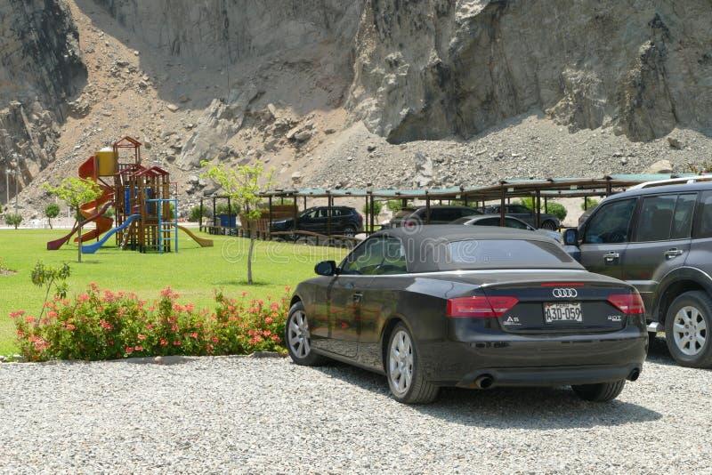 Schwarze Farbe konvertierbares Audi A5 2 0T Quattro in Lima stockbilder