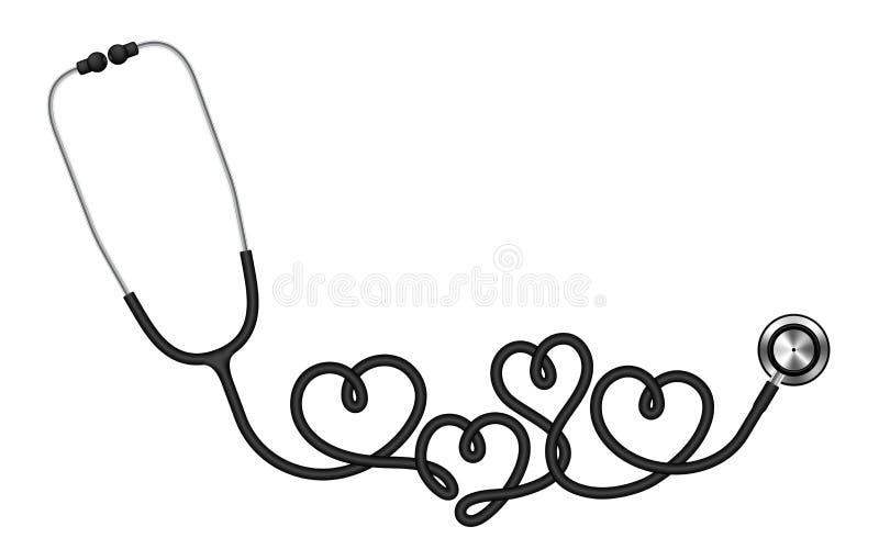 Schwarze Farbe und Herz des Stethoskops unterzeichnen das Symbol, das vom Kabel gemacht wird lizenzfreie abbildung