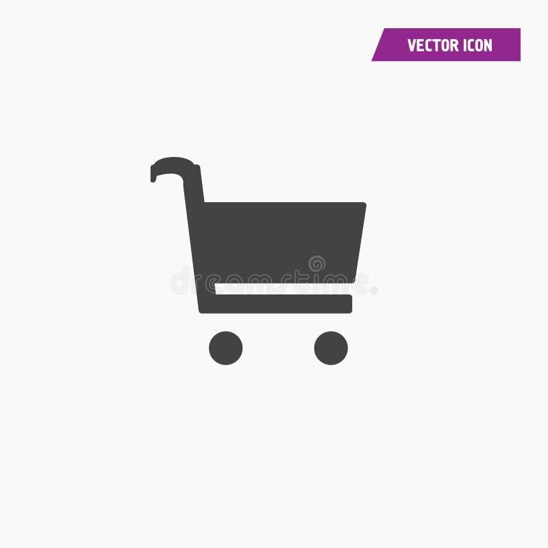 Schwarze feste Einkaufswagenikone, flacher Entwurf vektor abbildung