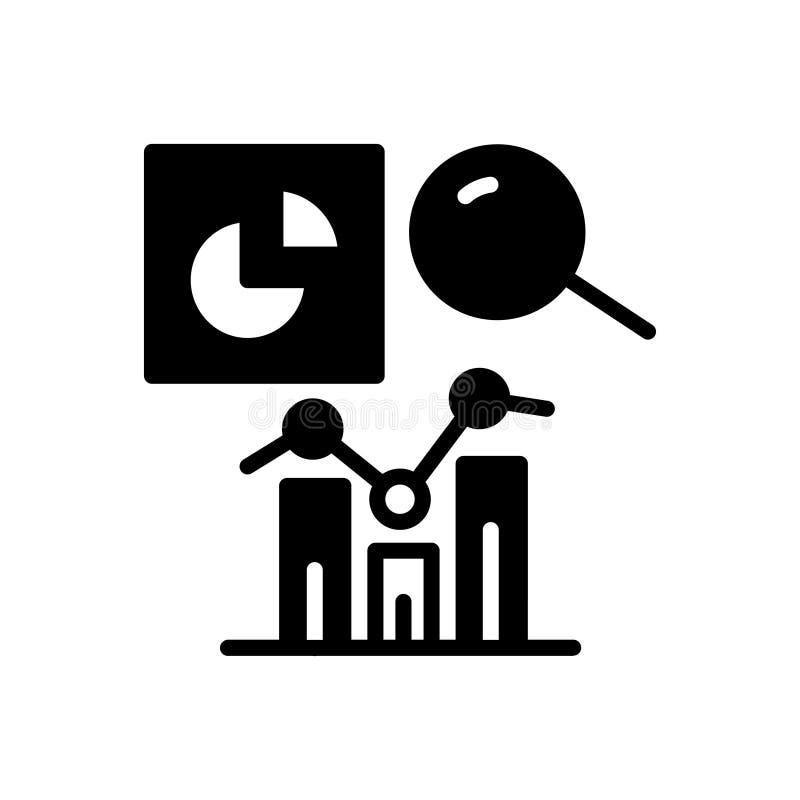 Schwarze feste Ikone für Analytics, Berichte und Analytics lizenzfreie abbildung