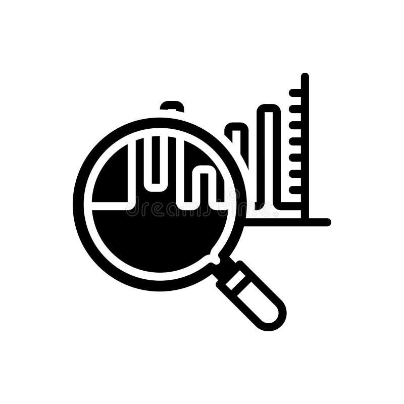 Schwarze feste Ikone für Analytics, Darstellung und Fortschritt lizenzfreie abbildung