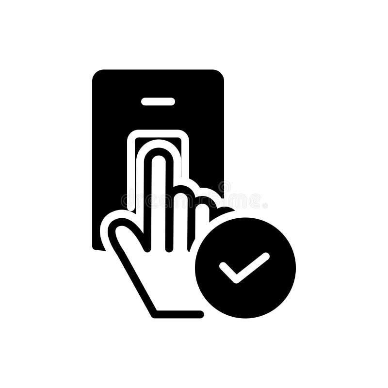 Schwarze feste Ikone f?r angenommen, bewilligt und erkannt stock abbildung