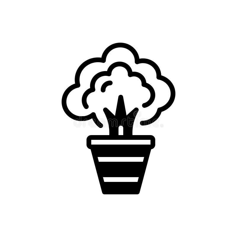 Schwarze feste Ikone für Anlage, Kraut und Strauch lizenzfreie abbildung