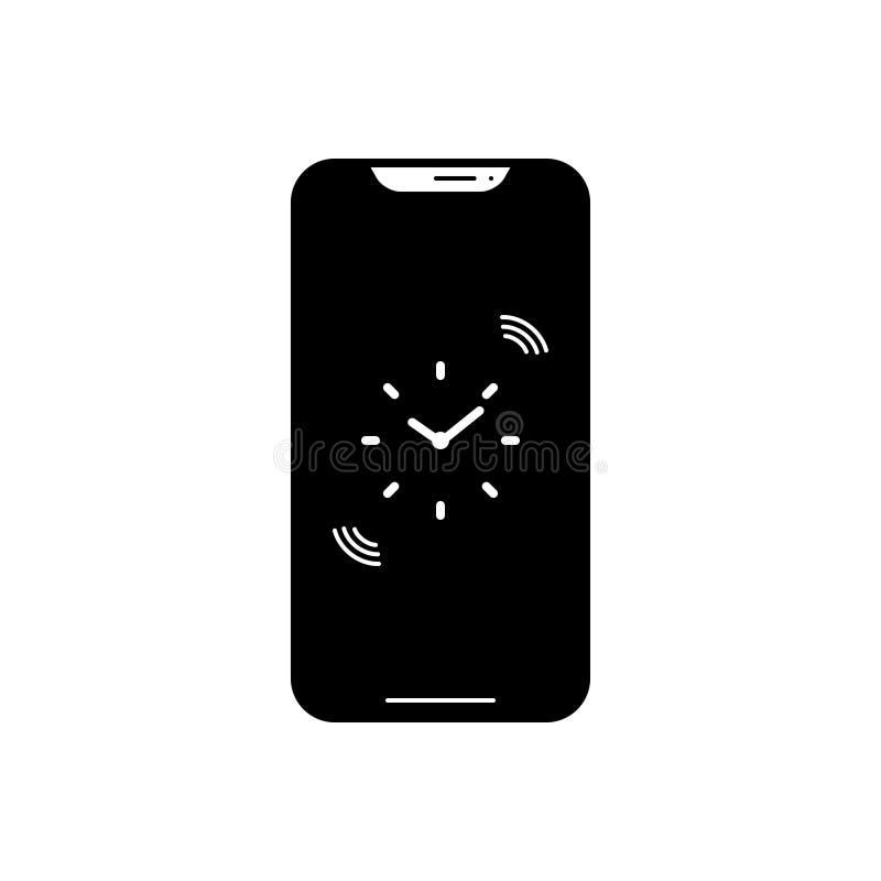 Schwarze feste Ikone für Anzeigen App, Anmerkung und Smartphone stock abbildung