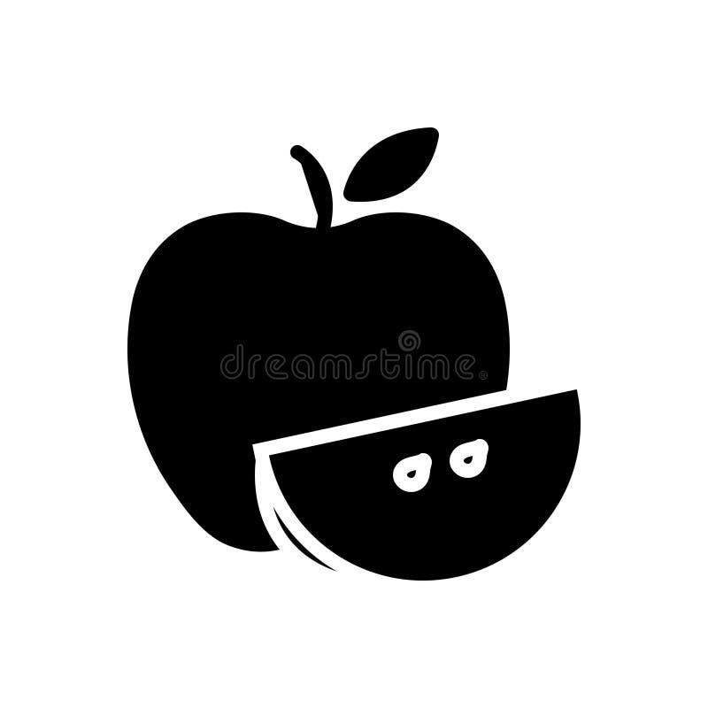Schwarze feste Ikone für Apple, Nahrung und Stück vektor abbildung