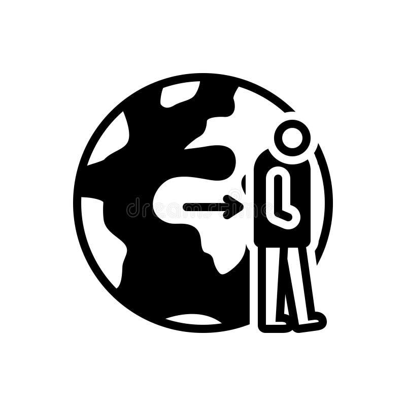 Schwarze feste Ikone für Aufgeben, Ablehnung und Opfer stock abbildung