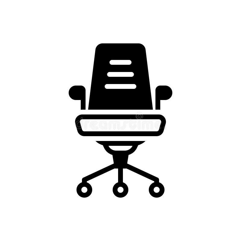 Schwarze feste Ikone für Büro-Stuhl, hintere Unterstützung und bequem lizenzfreie abbildung