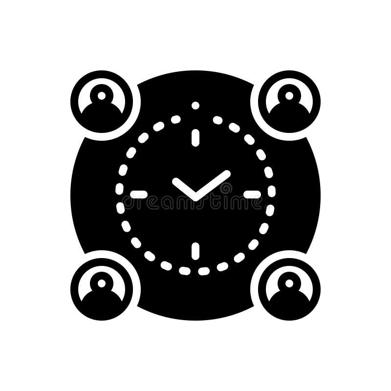 Schwarze feste Ikone für Bedeutungsfrist, -management und -zeitplan vektor abbildung