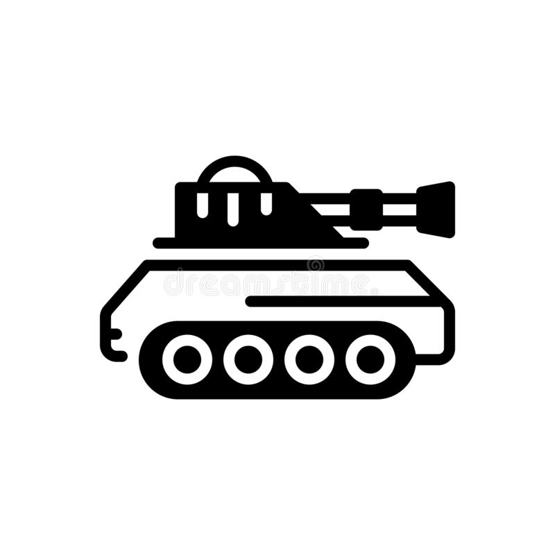 Schwarze feste Ikone für Behälter, Armee und Kampf lizenzfreie abbildung