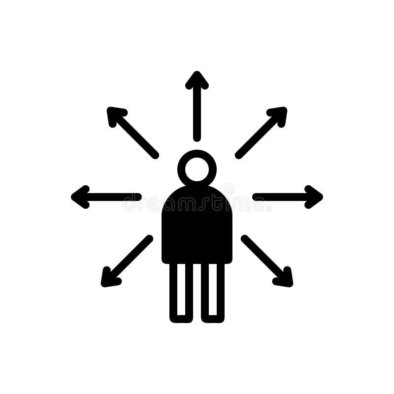 Schwarze feste Ikone für Beschlussfassung, Konzept und Urteil stock abbildung
