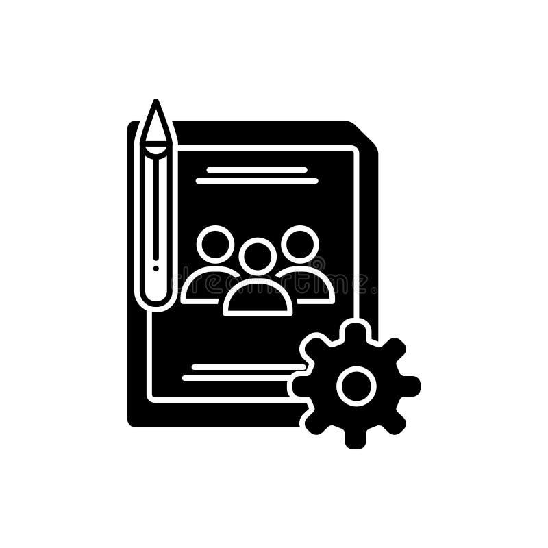 Schwarze feste Ikone für Blogmanagement, -website und -anwendung lizenzfreie abbildung