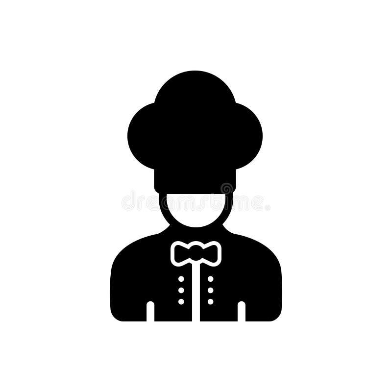 Schwarze feste Ikone für Chef, Avatara und Koch vektor abbildung