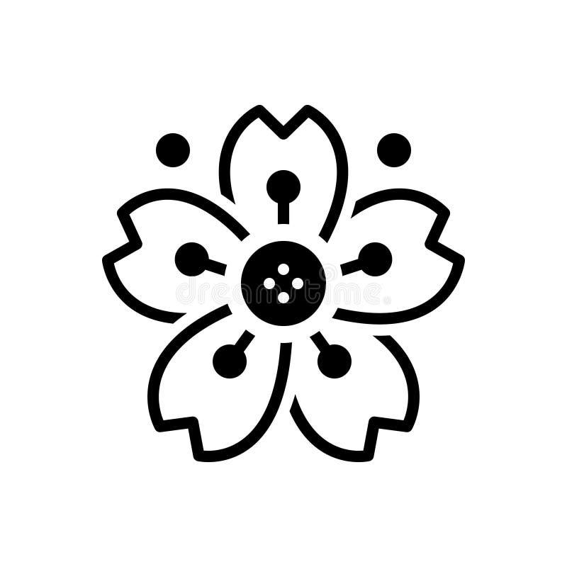Schwarze feste Ikone für Cherryblossom, Kirsche und Blüte stock abbildung