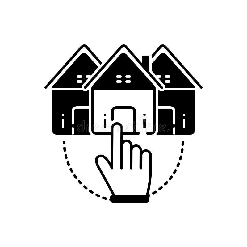 Schwarze feste Ikone für Choose Haus, Gelegenheit und ausgewähltes lizenzfreie abbildung