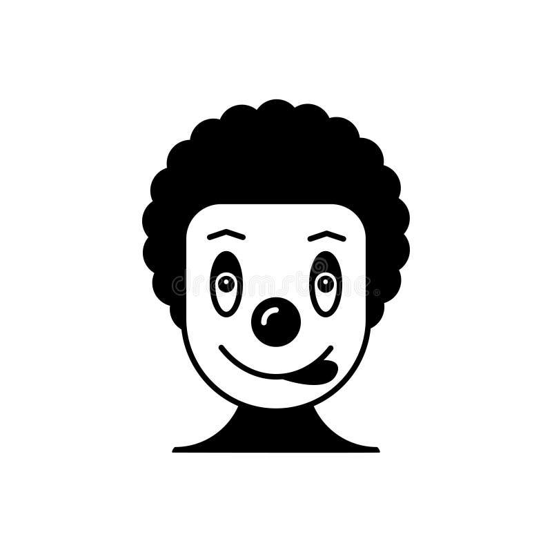 Schwarze feste Ikone für Clown, Zirkus und Spassvogel stock abbildung