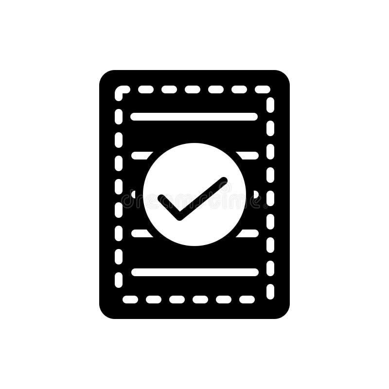 Schwarze feste Ikone für Confirm, indossieren und indossieren vektor abbildung