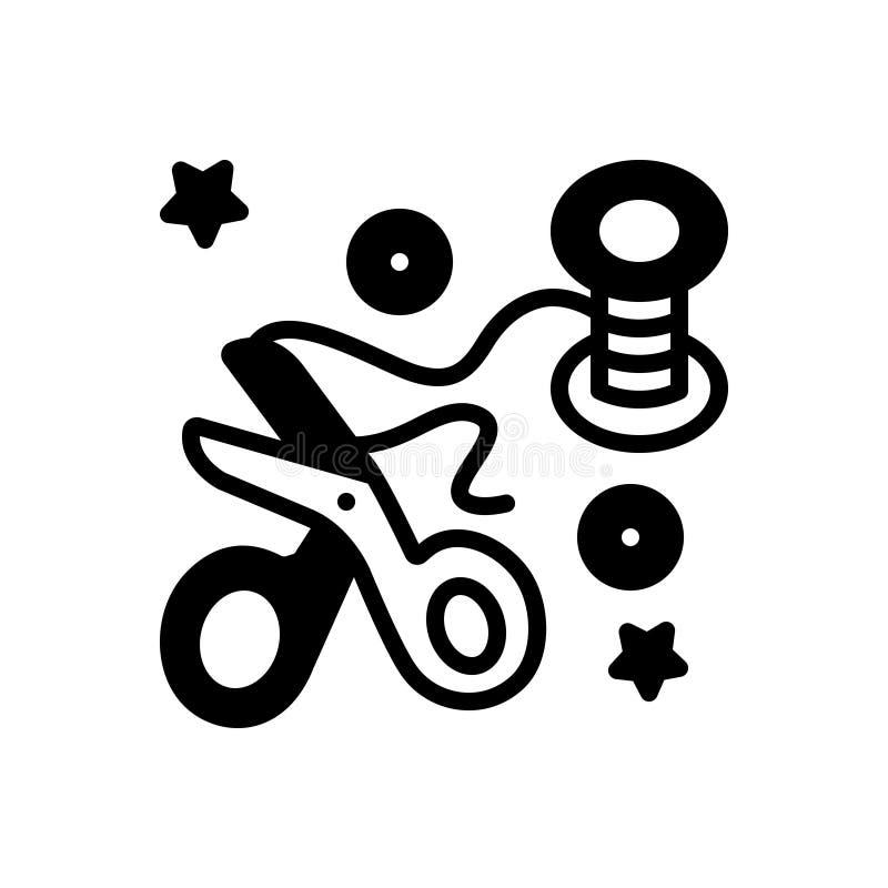 Schwarze feste Ikone für Crafted, Kunst und Briefpapier lizenzfreie abbildung