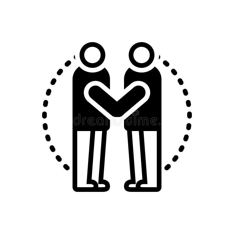 Schwarze feste Ikone für das Einwilligung, Annahme und angenommen lizenzfreie abbildung