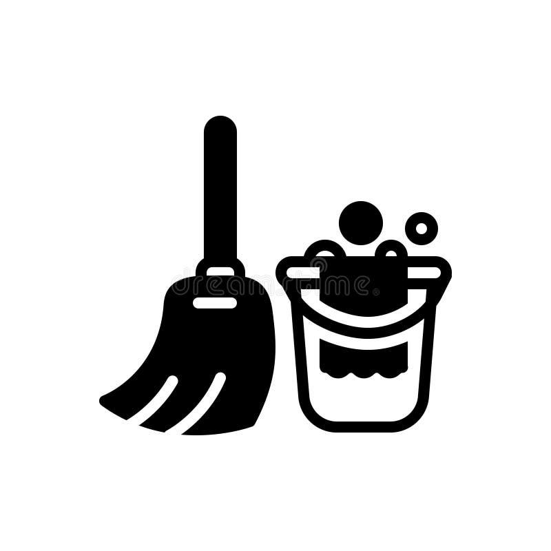 Schwarze feste Ikone für das Säubern, Wäsche und Kehren vektor abbildung