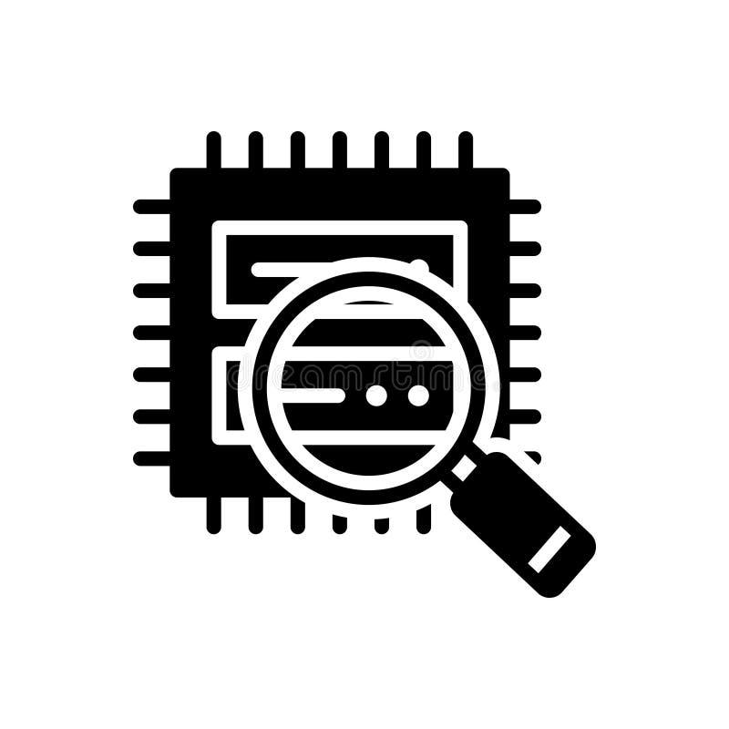 Schwarze feste Ikone f?r Datenanalyse, Benutzer und Analytics vektor abbildung