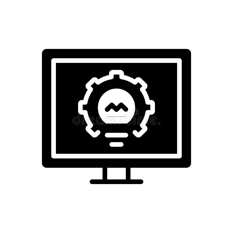 Schwarze feste Ikone für die Überwachung, Untersuchung und Untersuchung vektor abbildung
