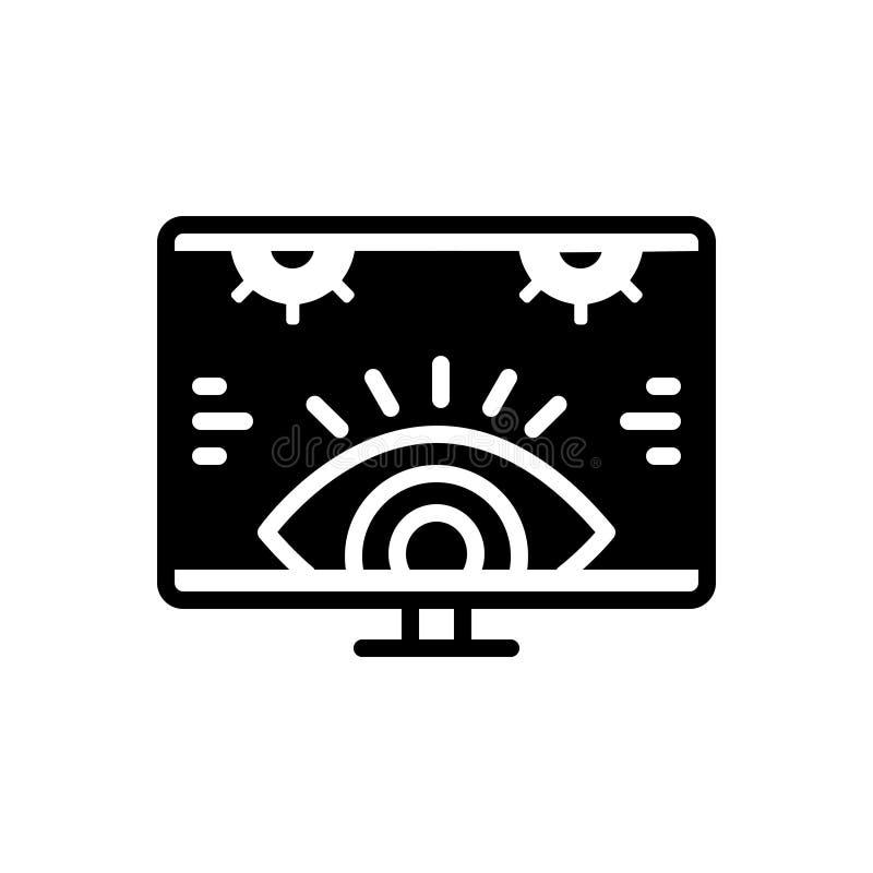 Schwarze feste Ikone f?r die ?berwachung, Untersuchung und Technologie stock abbildung