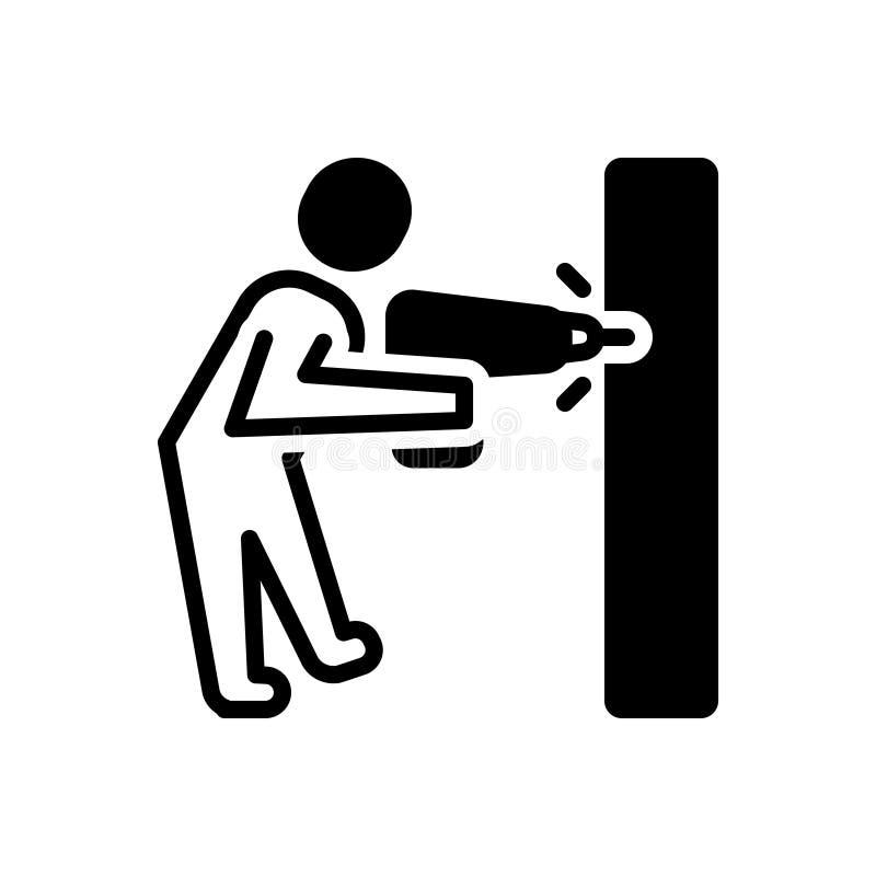 Schwarze feste Ikone für die Bohrung, Arbeit und Bohrgerät stock abbildung