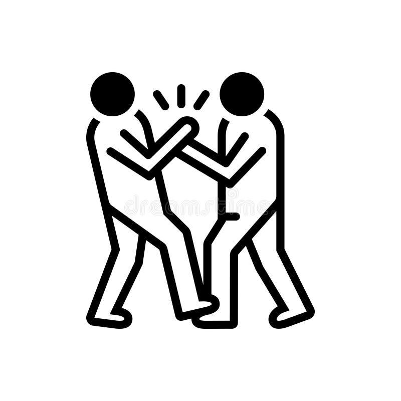 Schwarze feste Ikone für die Einschüchterung, Missbrauch und Kampf stock abbildung
