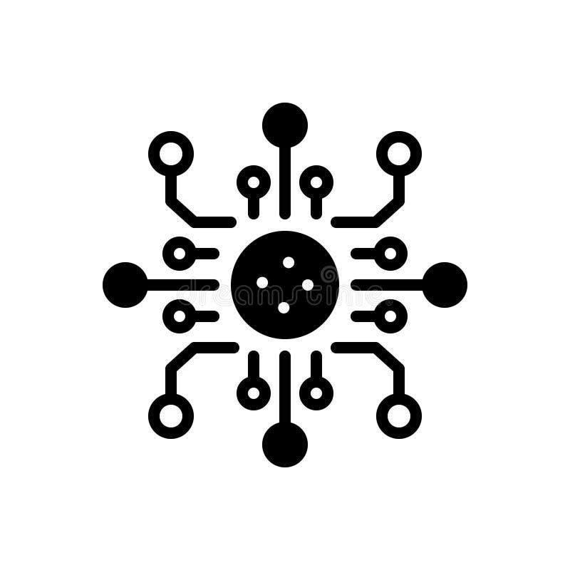 Schwarze feste Ikone für Digitalisierung, Technologie und soziales stock abbildung