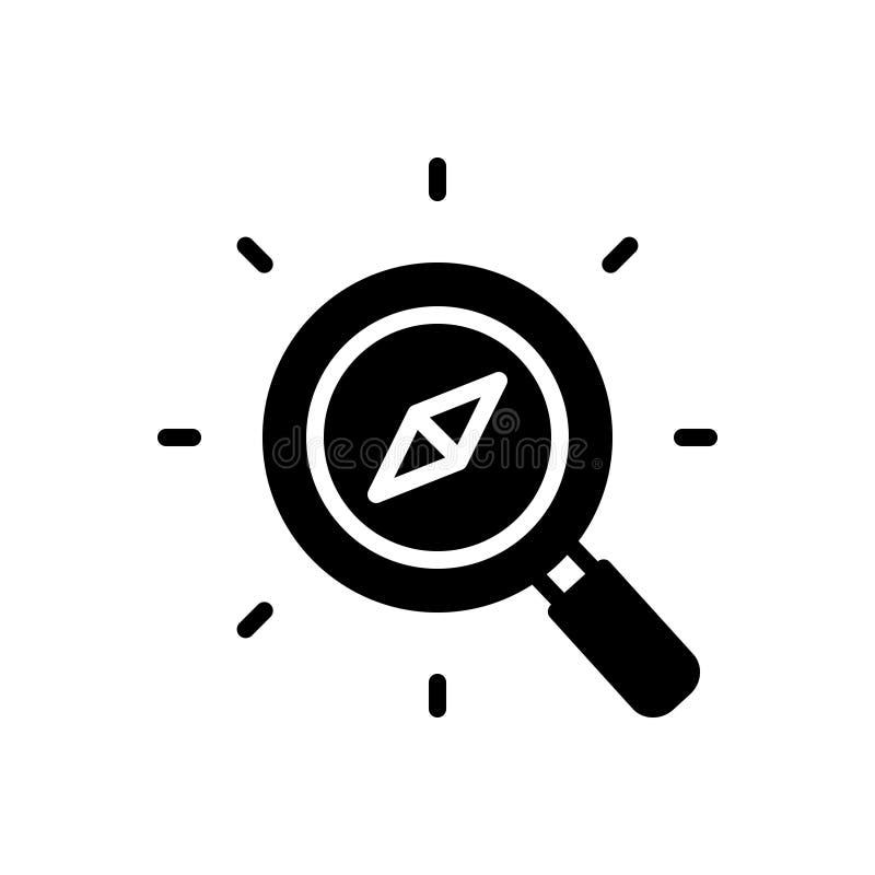 Schwarze feste Ikone für Discover, umgehen und suchen stock abbildung