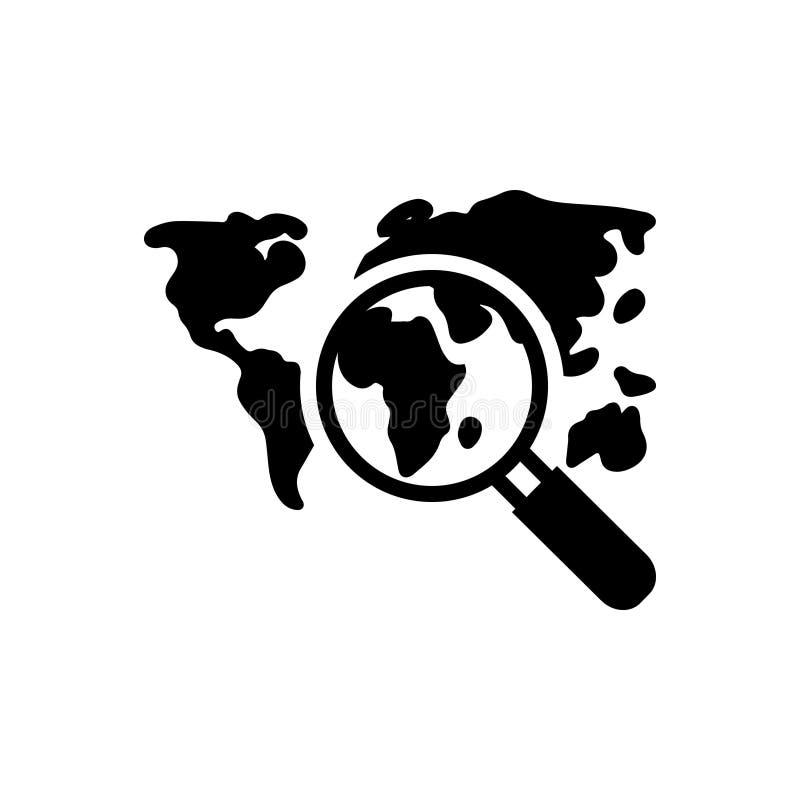 Schwarze feste Ikone für Discover Welt, Reise und Markstein lizenzfreie abbildung