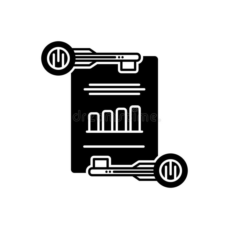 Schwarze feste Ikone für effektives Keywording, Management und digitales lizenzfreie abbildung