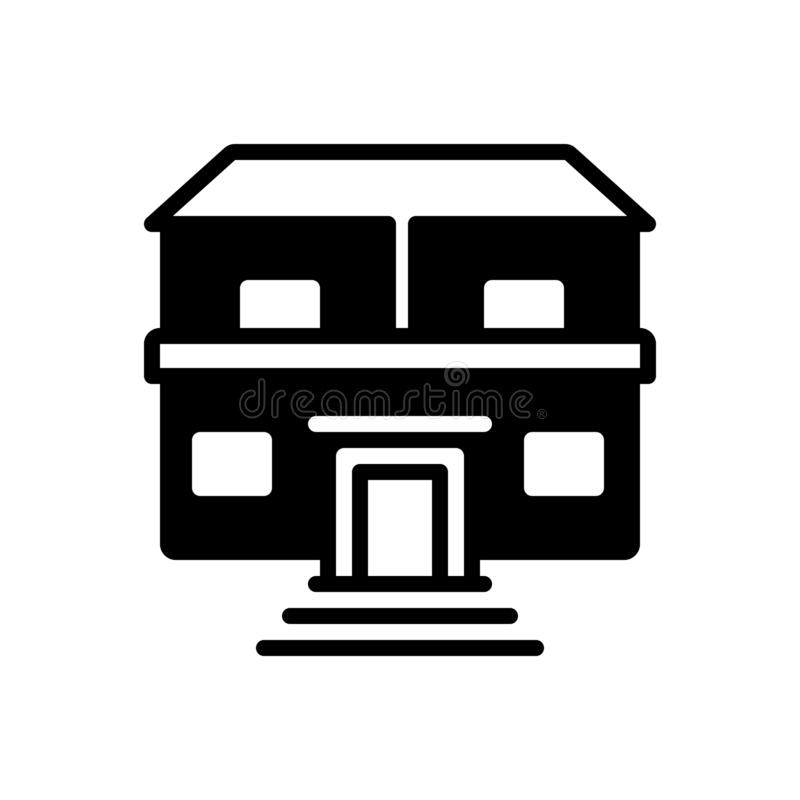 Schwarze feste Ikone für Eigentum, Anlagegüter und Reichtum stock abbildung