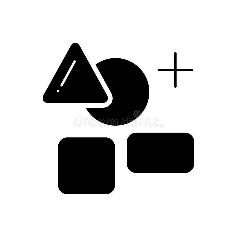 Schwarze feste Ikone für Elementlogo, -graphik und -logo stock abbildung