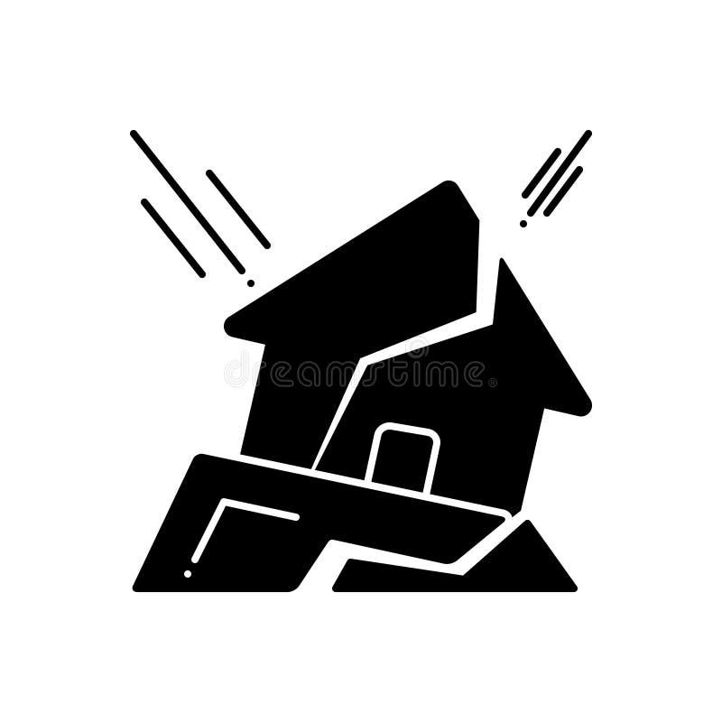 Schwarze feste Ikone für Erdbeben, Flut und Sicherheit stock abbildung