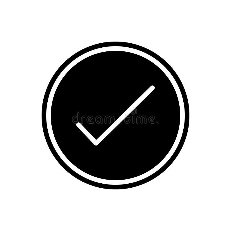 Schwarze feste Ikone für Erfolg, Leistung und angenommen vektor abbildung