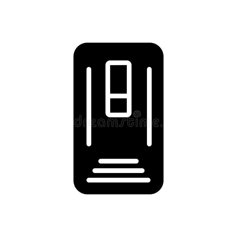 Schwarze feste Ikone für Fall, Angelegenheit und Eingang stock abbildung