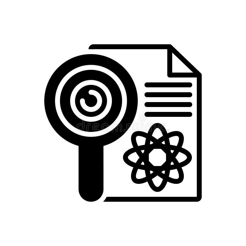 Schwarze feste Ikone für Forschung, Untersuchung und checkout vektor abbildung