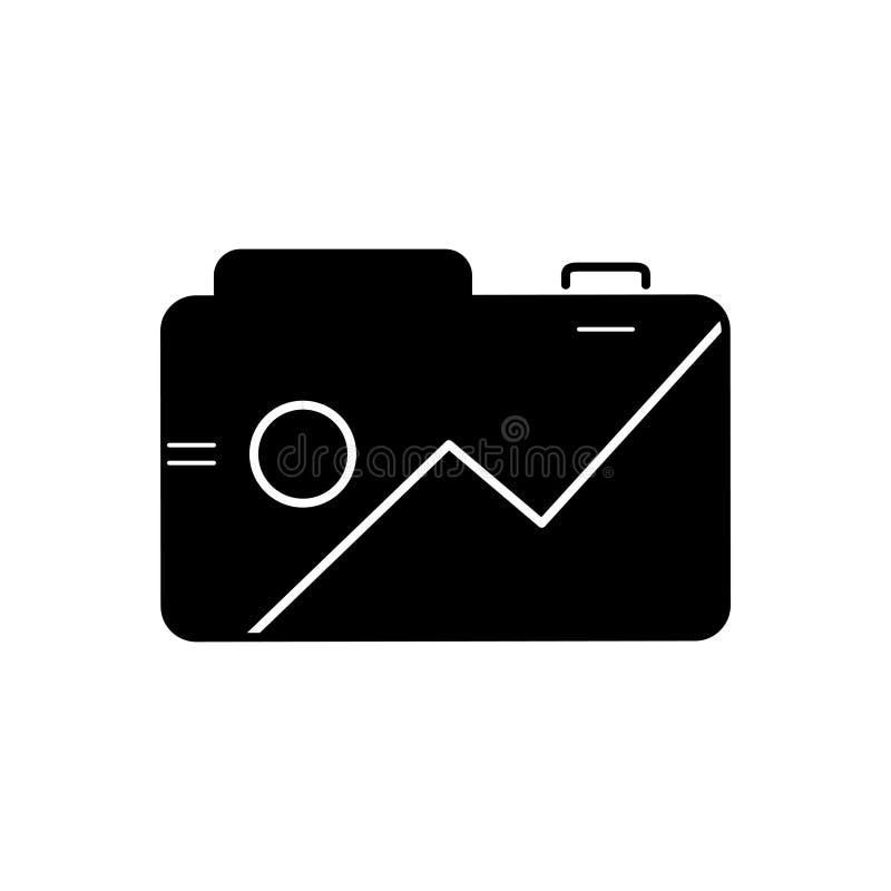 Schwarze feste Ikone für Fotos App, Bild und Smartphone stock abbildung